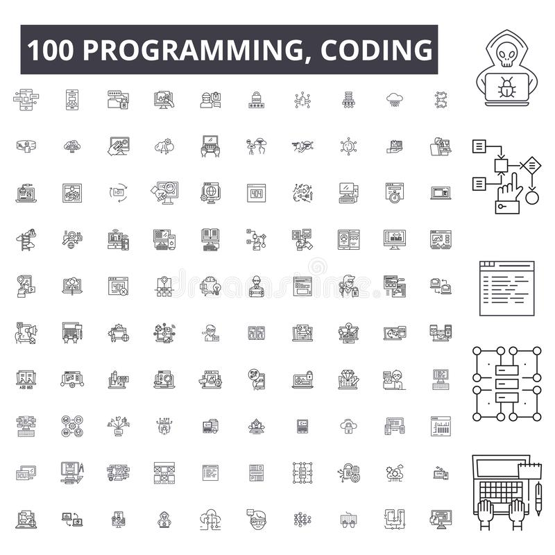 Programación, cifrando la línea editable iconos, sistema de 100 vectores, colección Programación, cifrando ejemplos negros del es ilustración del vector
