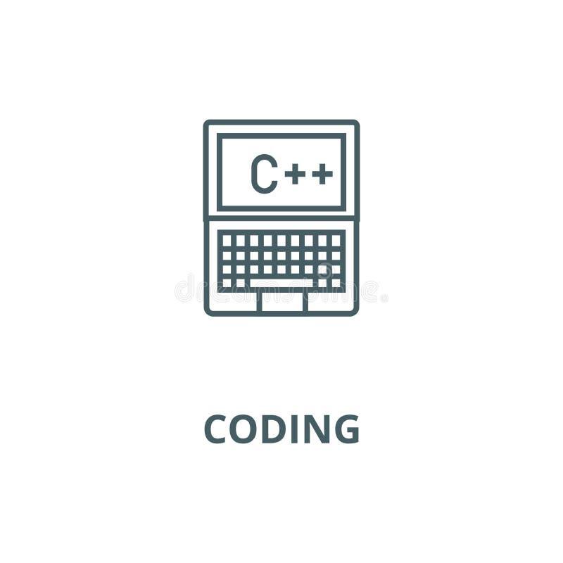 Programación, codificación, c más la línea icono, concepto linear, muestra del esquema, símbolo del vector stock de ilustración