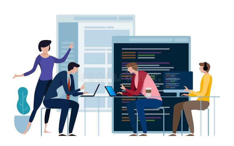 Programación que se convierte y codificación de tecnologías Diseño de páginas Web El programador que trabaja en un software desar stock de ilustración