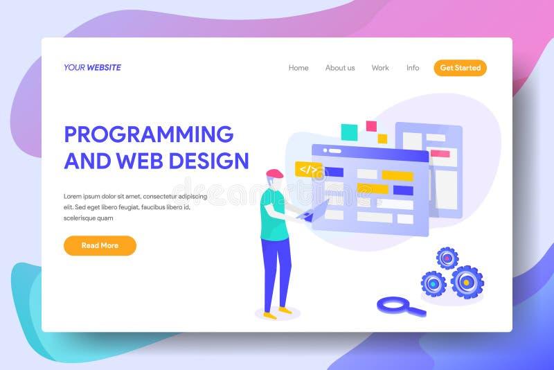 Programación y diseño web stock de ilustración