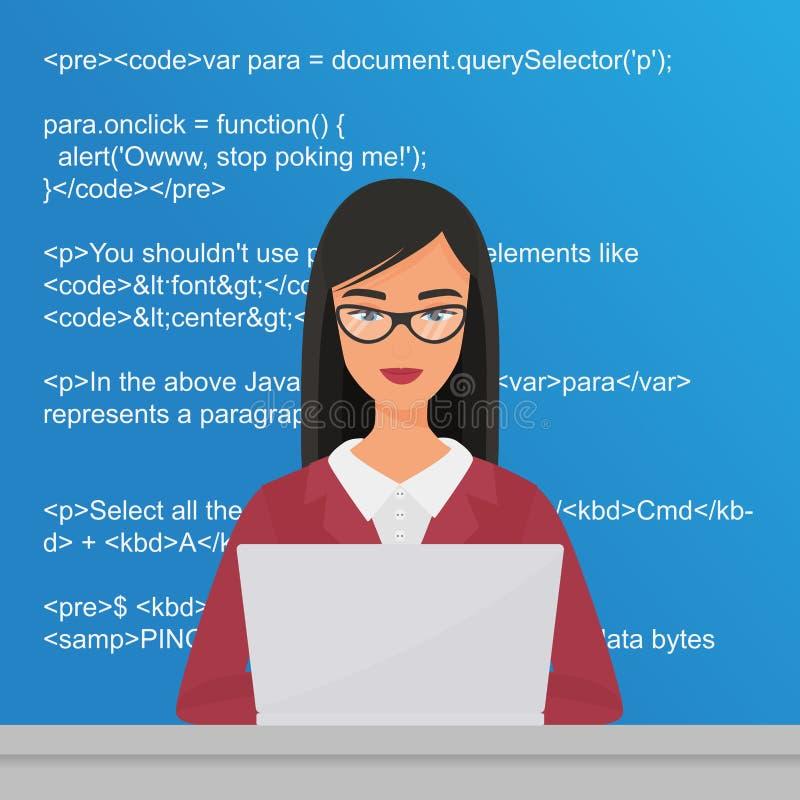 Programador bonito novo da mulher que senta-se no desktop e que trabalha no portátil Codificador que codding a ilustração lisa do ilustração royalty free