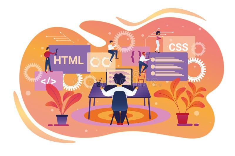 Programador Character Working en el ordenador port?til Trabajo en equipo stock de ilustración