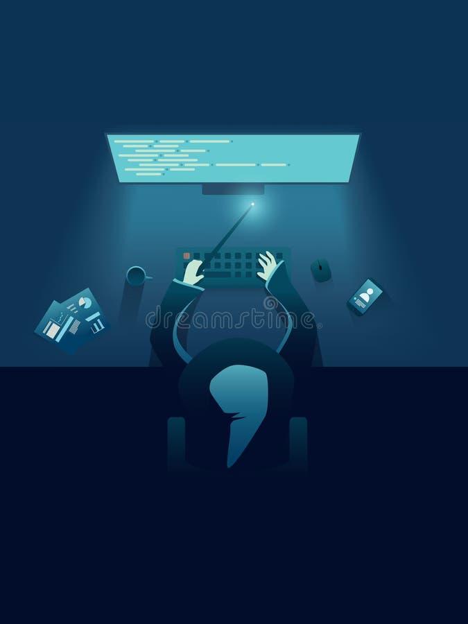 Programador da TI como o gênio ou o feiticeiro que sentam-se atrás do computador Molde do cartaz do recrutamento da TI para contr ilustração stock