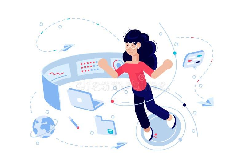 Programador de la mujer en el proceso del trabajo libre illustration