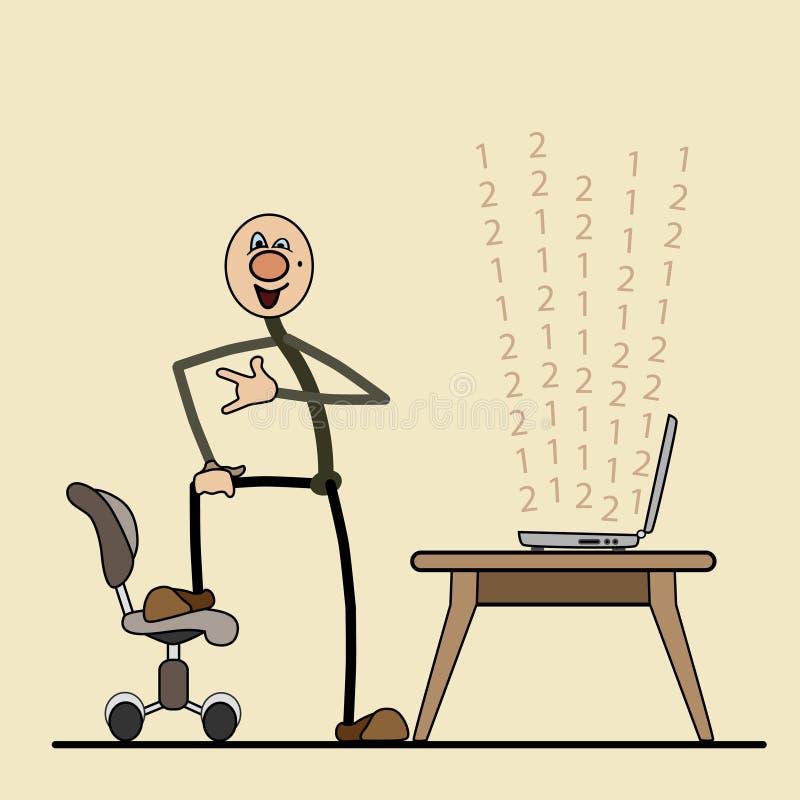 Programador de software inteligente satisfeito com o wo ilustração royalty free