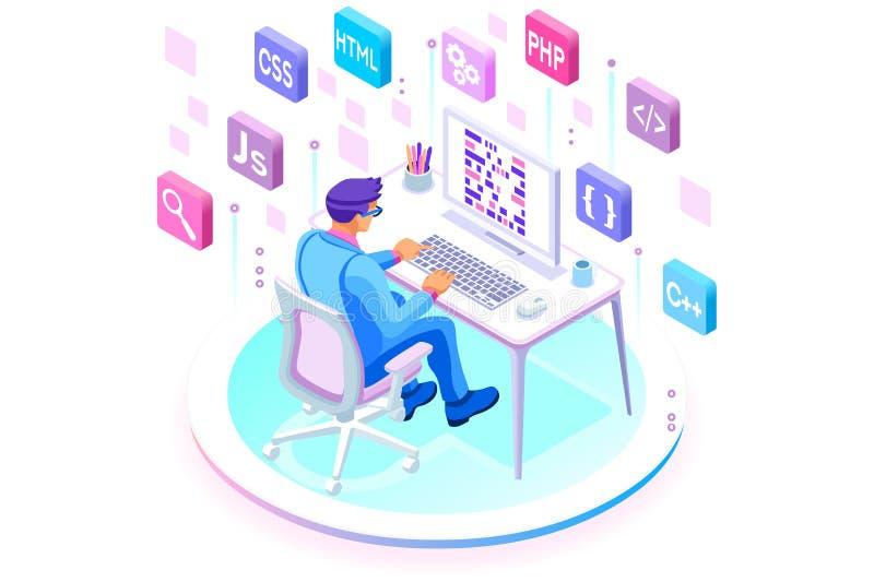 Programador del equipo del desarrollador de los ingenieros ilustración del vector