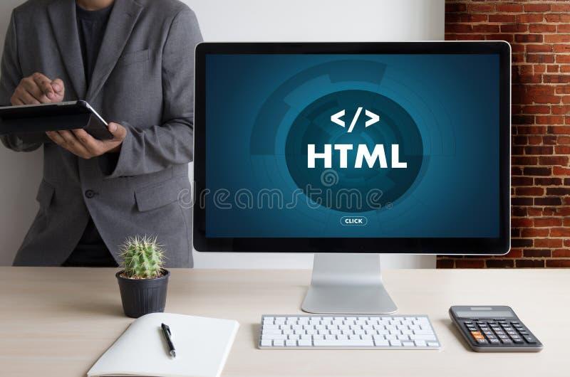 Programador do projeto do código da Web do COLABORADOR do HTML do PHP que trabalha em um delicado fotos de stock