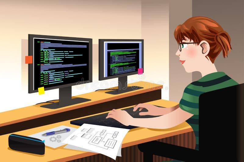 Programador fêmea Coding em um computador ilustração royalty free