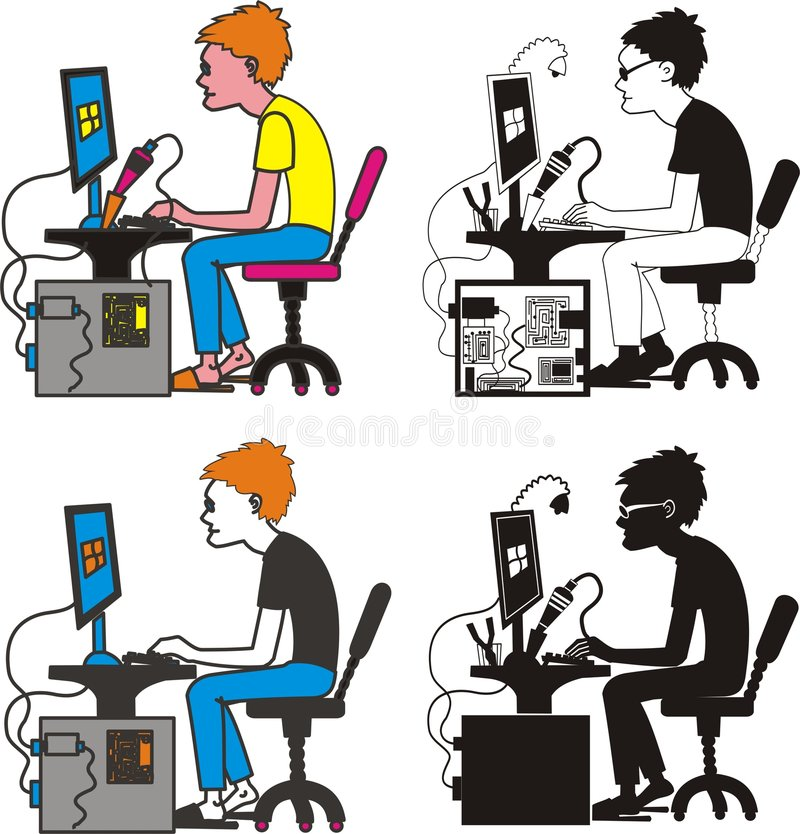 programador, ingeniero industrial stock de ilustración