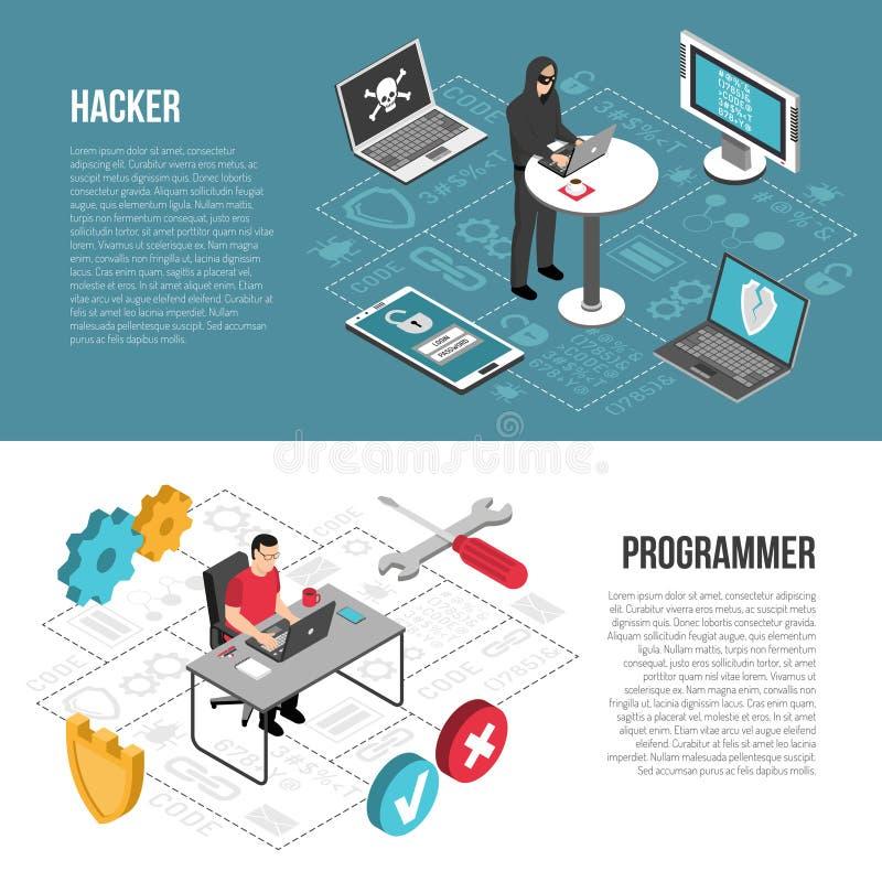 Programador Isometric Banners do hacker ilustração stock