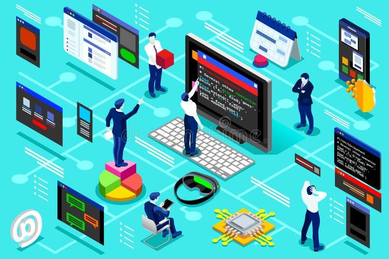 Programador Isometric Infographic de la empresa de informática stock de ilustración