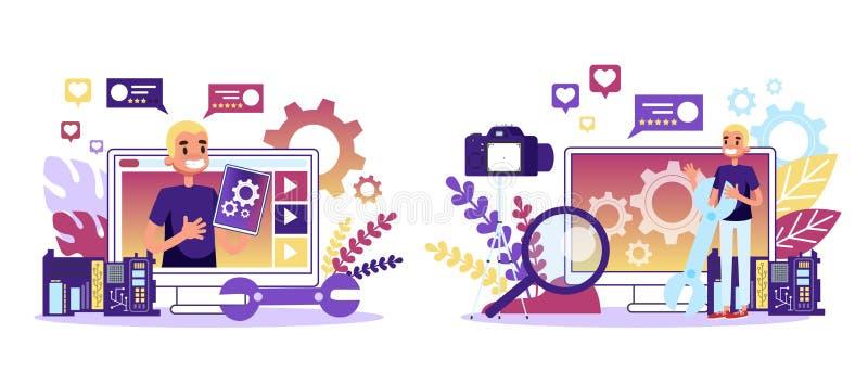 Programador que faz a revisão do computador e do smartphone ilustração do vetor