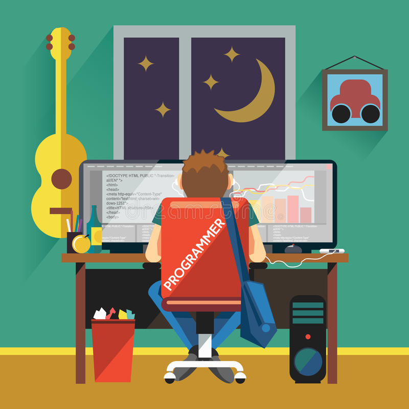 Programador que trabaja en el equipo de escritorio stock de ilustración