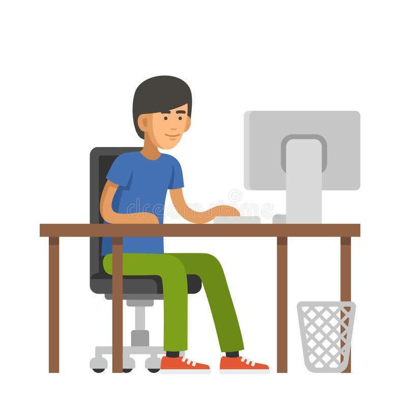 Programador Writes Code para un ordenador Hombre joven que se sienta en el escritorio Vector ilustración del vector