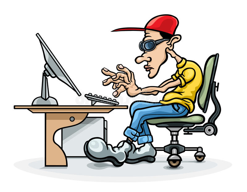 programador y ordenador stock de ilustración