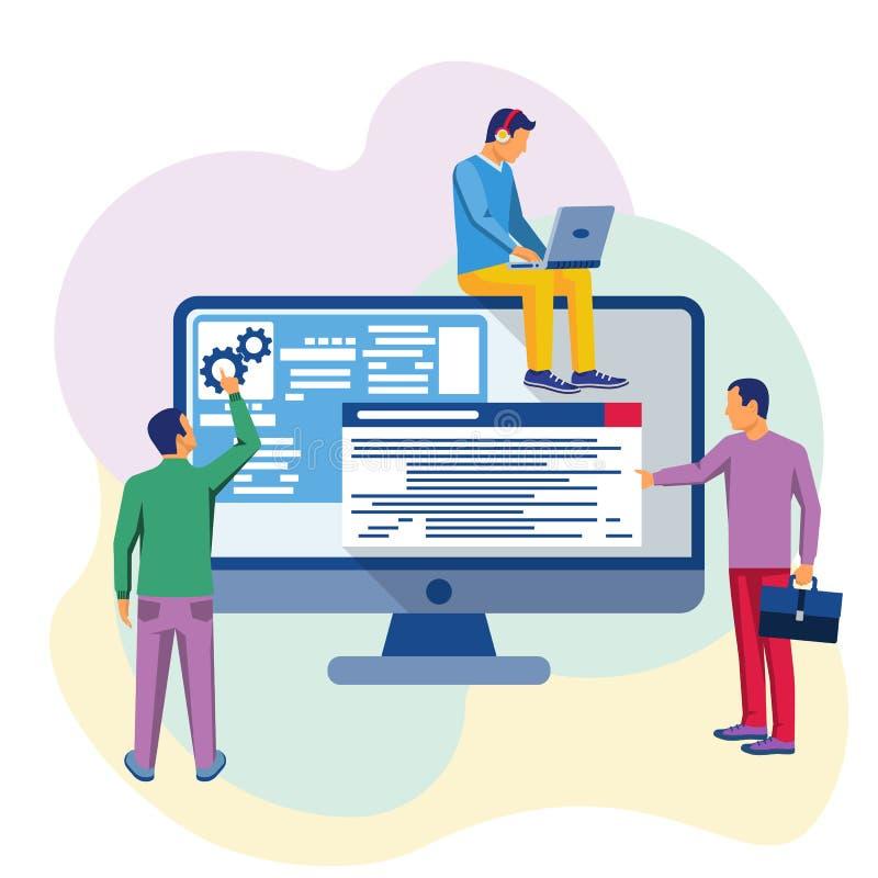 Programadores en el trabajo stock de ilustración