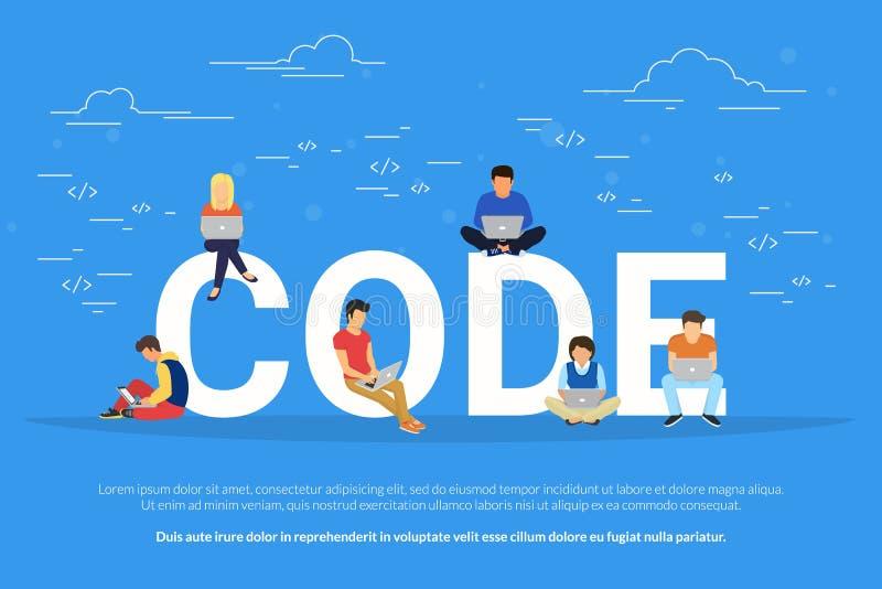 Programadores novos que codificam um projeto novo ilustração royalty free