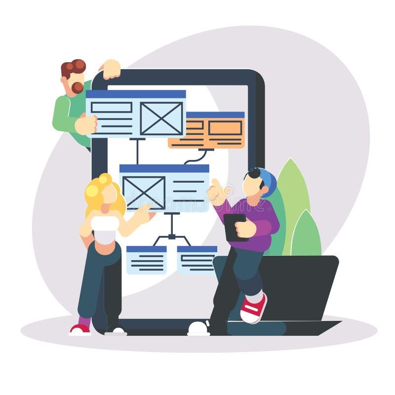 Programadores novos que codificam um projeto novo no telefone grande do picosegundo da tabuleta Ilustração moderna lisa do progra ilustração stock