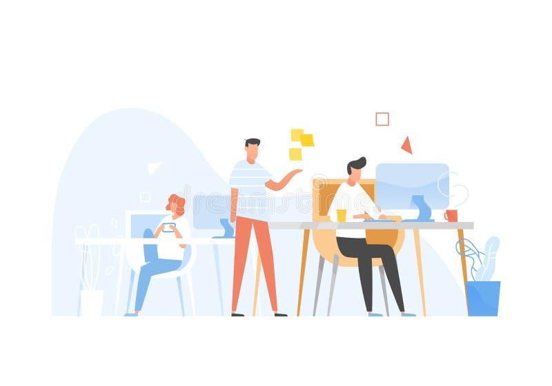 Programadores ou codificadores que trabalham junto Parte frontal e programação de software no final do processo e teste, programa ilustração stock
