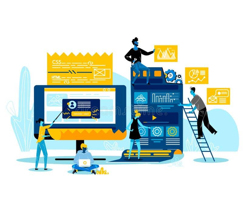 Programadores que trabajan junto creando nueva página web ilustración del vector