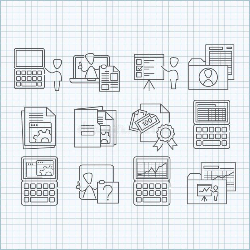 Programando, ícones da educação e tornar-se ajustados ilustração royalty free