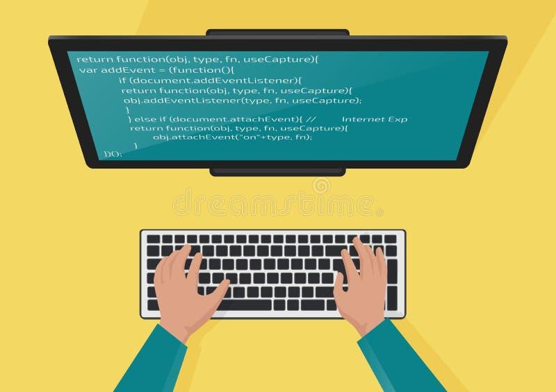 Programando, concepto del desarrollo web Manos de los programadores en el teclado Código en el monitor de la pantalla Vector plan stock de ilustración