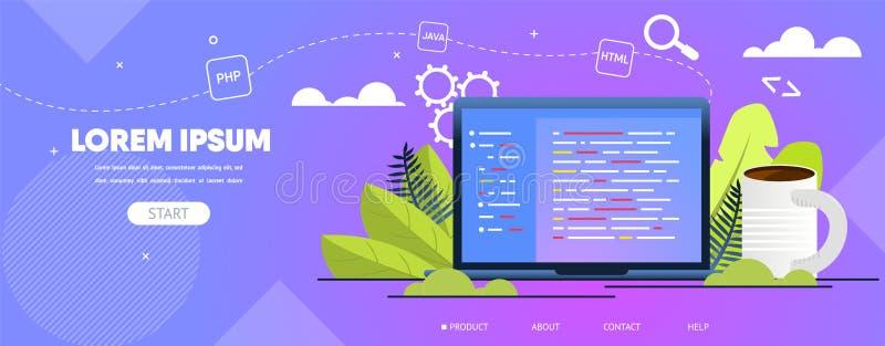 Programando, Web site do vetor de Web Tornar-se Empresa ilustração stock