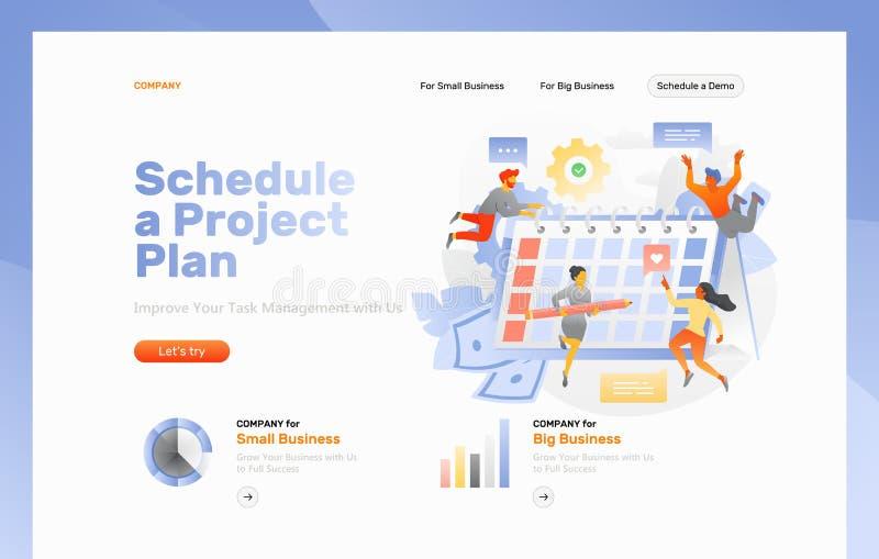 Programe um página da web do plano do projeto ilustração stock