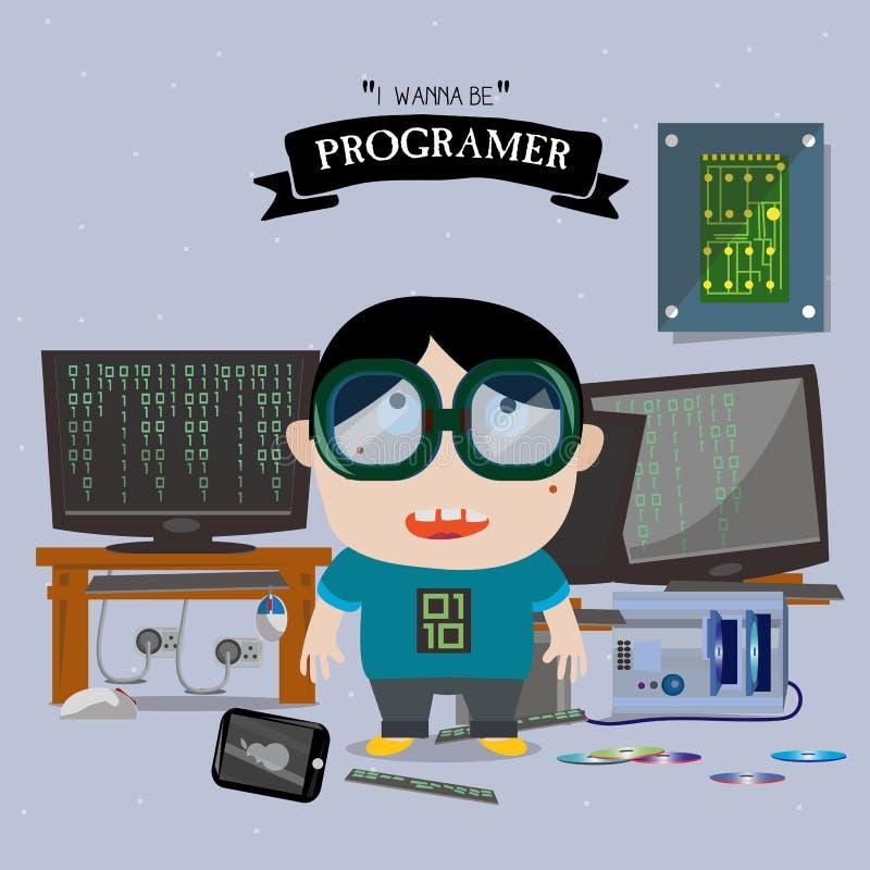 Programer孩子字符- 库存例证