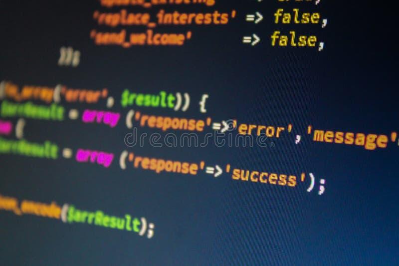 Ζωηρόχρωμος programing κώδικας υπολογιστών στοκ φωτογραφίες