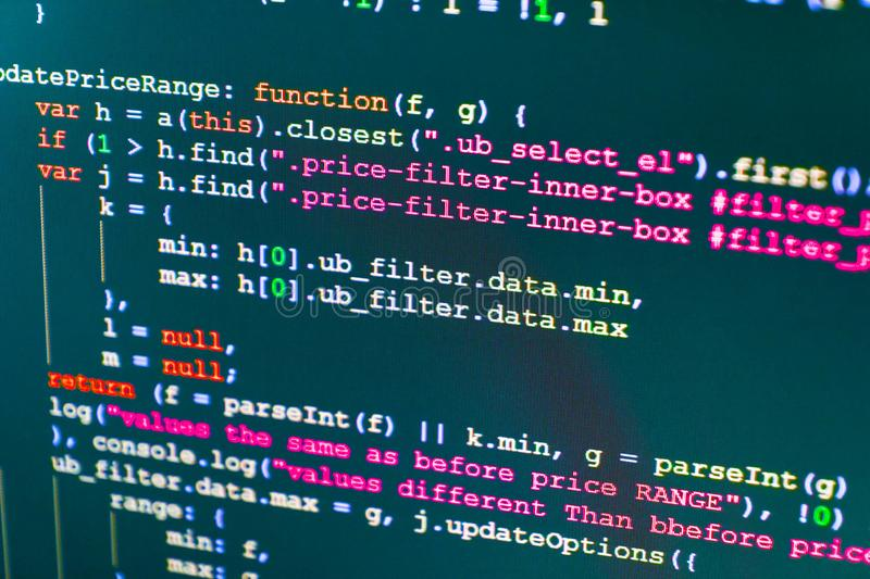 Programing workflow abstract algorithm concept. stock image