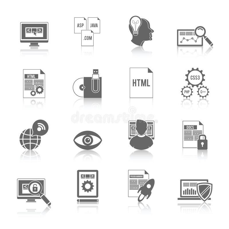 Programista ikony czerń ilustracja wektor