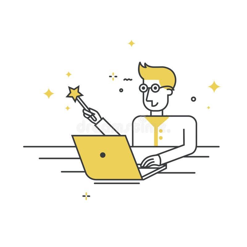 Programista siedzący na laptopie z magiczną różdżką - postać w stylu wektorowym ilustracji