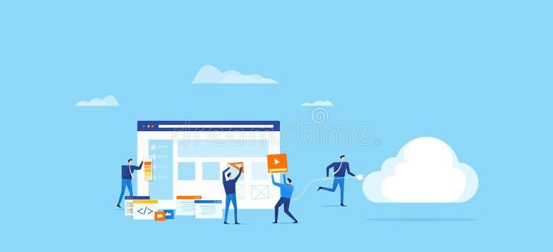 Programisty i projekta drużyna rozwija dla aplikaci sieciowej i łączy chmurnieć obliczać royalty ilustracja