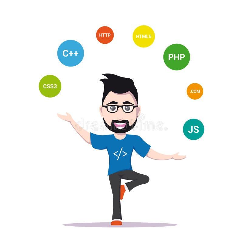 Programisty mężczyzna charakter ilustracja wektor