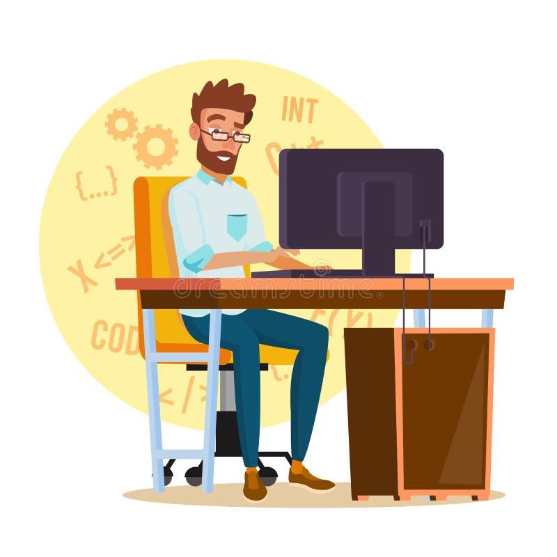 Programisty mężczyzna wektor Stylizowany Młody przedsiębiorca budowlany osoba ilustracji