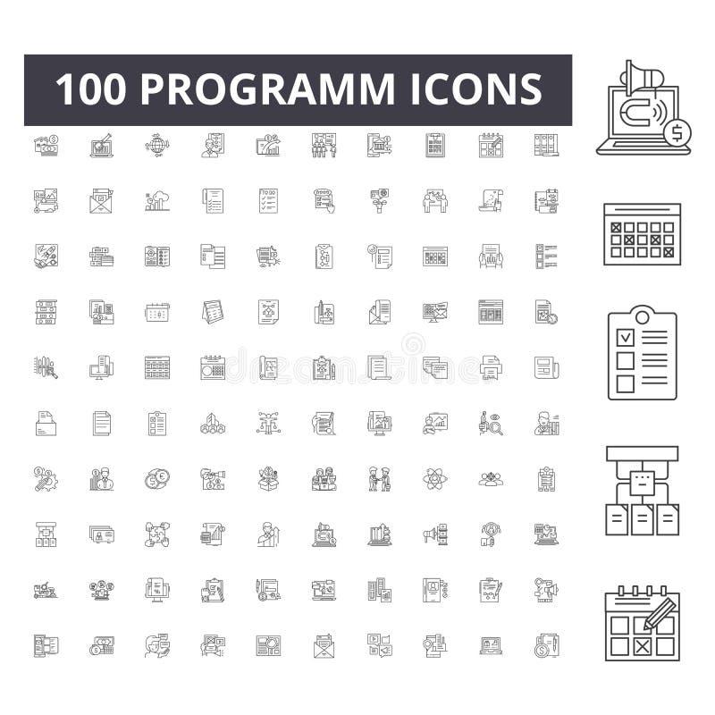 Programm linje symboler, tecken, vektoruppsättning, översiktsillustrationbegrepp royaltyfri illustrationer