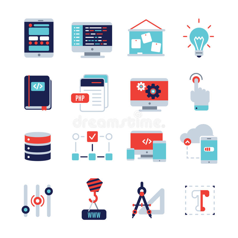 Programm rozwoju ikony Płaski set ilustracja wektor