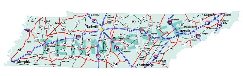Programma da uno stato all'altro della condizione del Tennessee illustrazione di stock