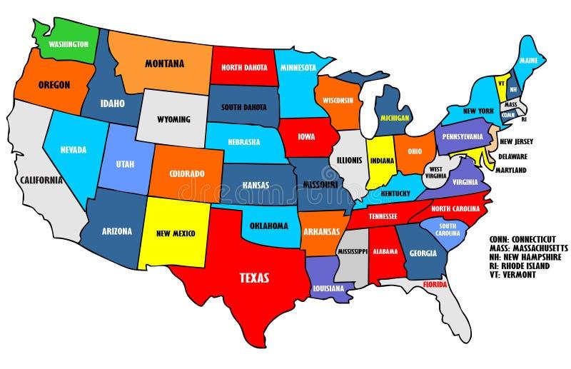 Mappa di U.S.A. illustrazione vettoriale
