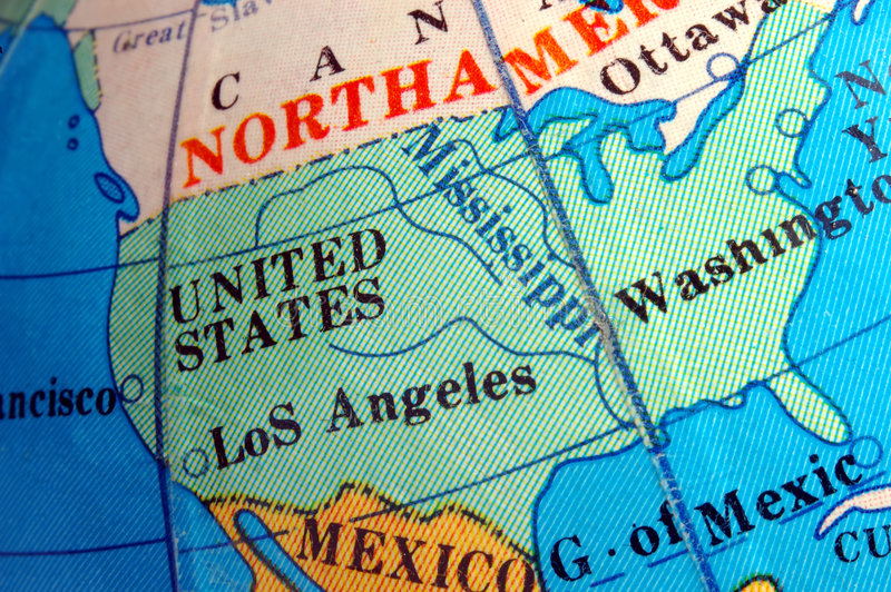 Programma degli S.U.A. sul piccolo globo terrestre fotografia stock libera da diritti