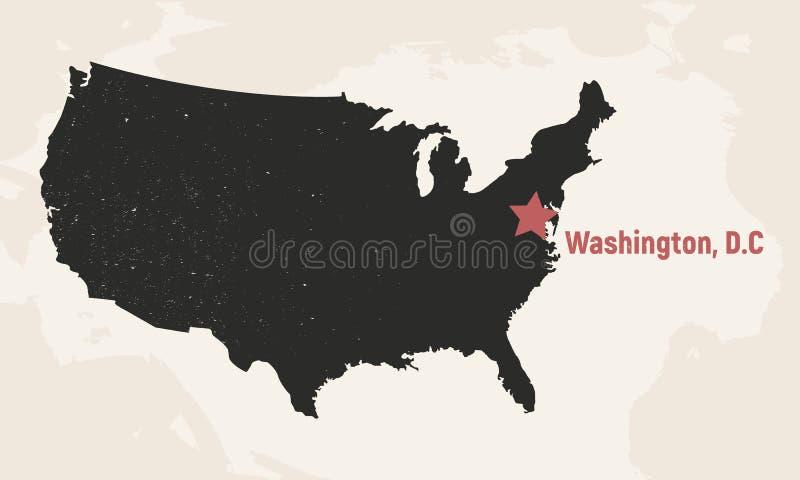 Programma degli Stati Uniti d'America Mappa di U.S.A. con capitale Mappa del manifesto di U.S.A. Disegno dell'annata Illustrazion illustrazione vettoriale