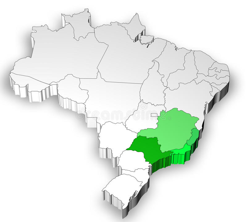 Programma del Brasile con la regione ad ovest del sud illustrazione vettoriale