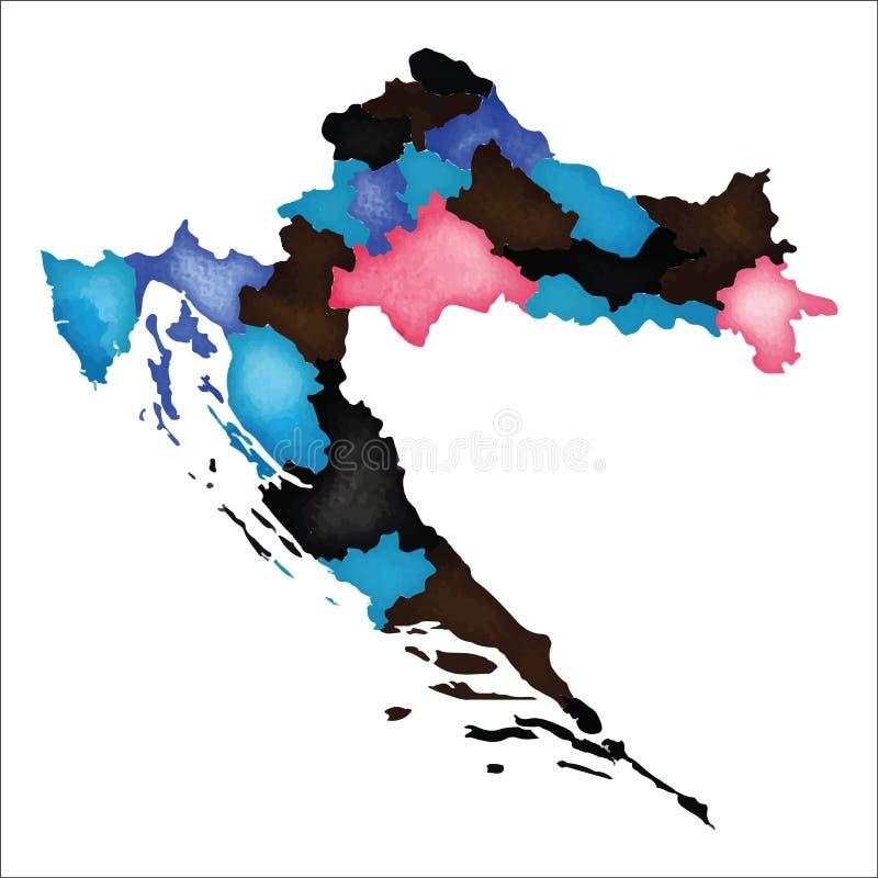 Programma del Croatia Mappa Colourful della Croazia dell'acquerello royalty illustrazione gratis