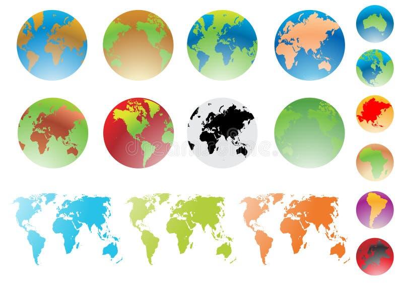 Mappa del globo del mondo e di mondo royalty illustrazione gratis