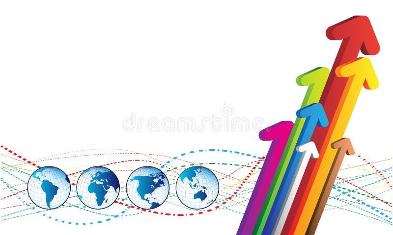 Programma del mondo e delle frecce illustrazione di stock