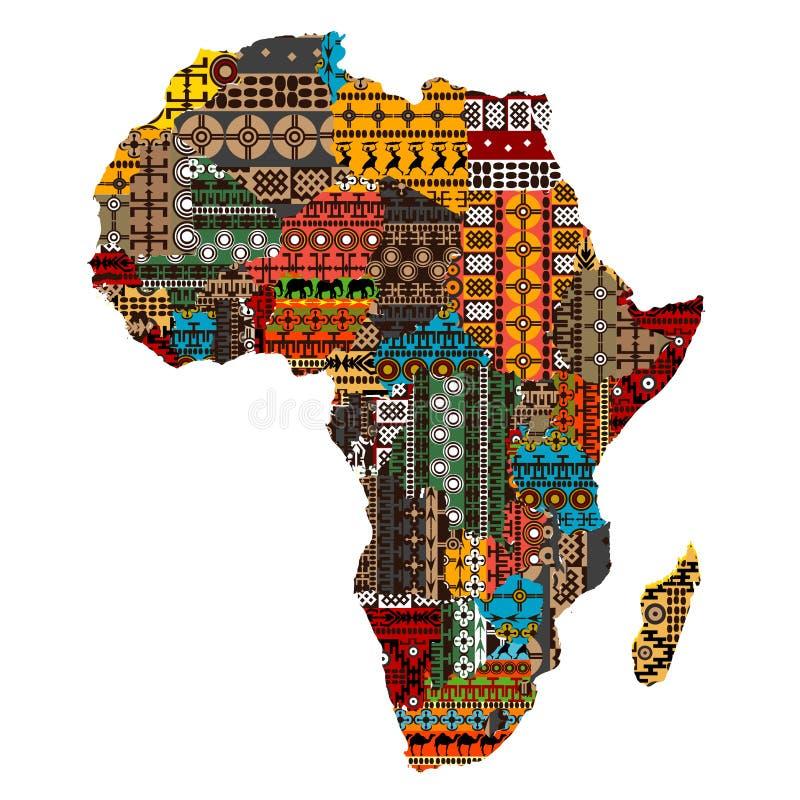 Programma dell'Africa con i paesi fatti delle strutture etniche illustrazione vettoriale