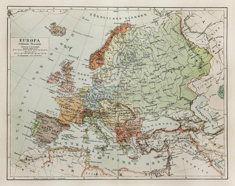 Programma dell'annata di Europa alla conclusione del diciannovesimo secolo immagini stock libere da diritti