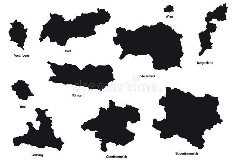 Programma dell'Austria con il nero di nomi illustrazione vettoriale