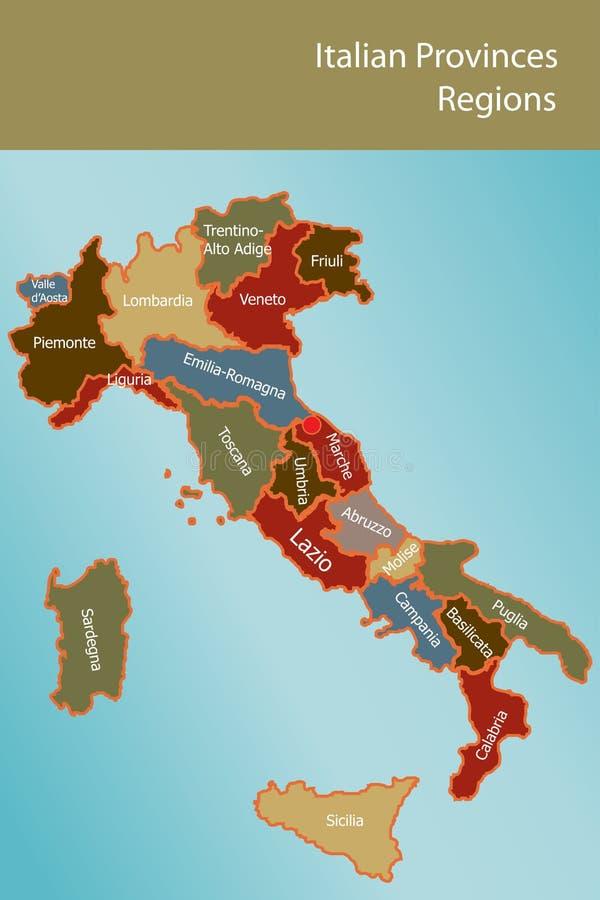 Programma dell'Italia con le province e le regioni royalty illustrazione gratis